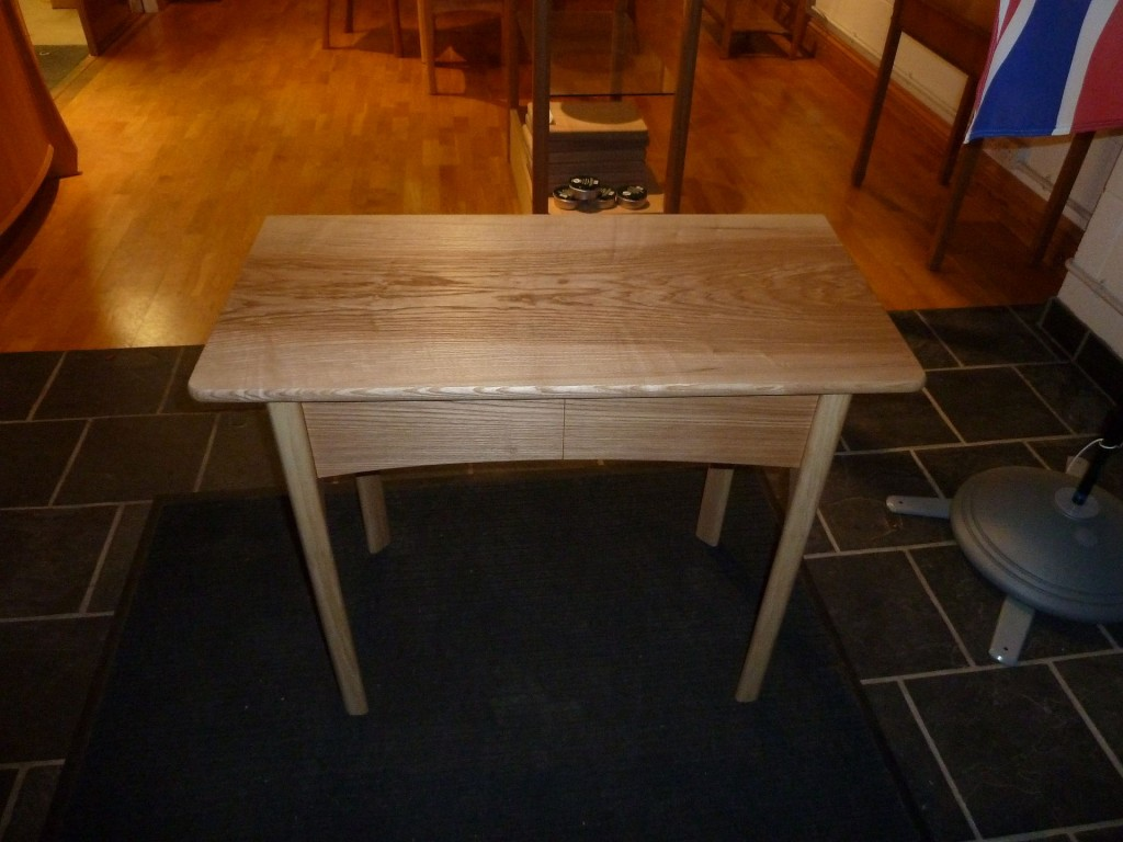 Two drawer hall table in Olive and white Ash