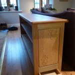 Oak bookcase in situ.