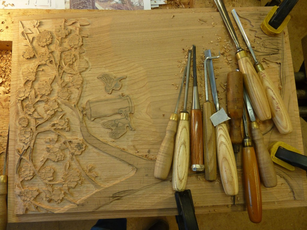 Last panel to carve trying to get my head around Cherry Blossom