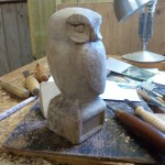 Little Owl carved from Elm